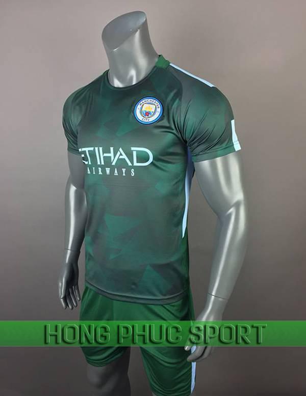 Bộ quần áo đấu Manchester City sân khách mẫu thứ ba 2017 2018 xanh rêu