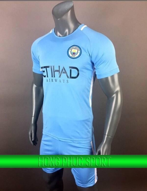 Bộ quần áo đấu Manchester City 2017 2018 sân nhà xanh biển