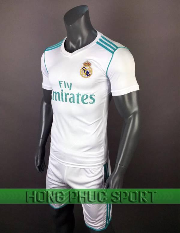 Bộ quần áo đấu Real Madrid 2017 2018 sân nhà trắng viền xanh
