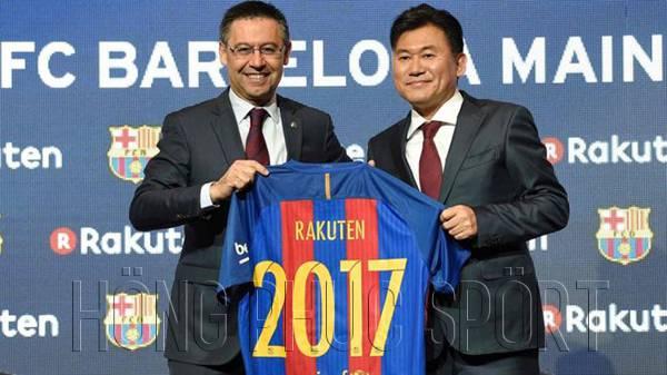 Mẫu áo đấu Barcelona Rakuten 2017 2018 sân nhà