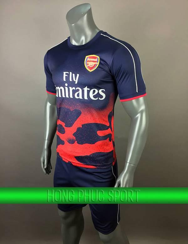 Bộ quần áo training Arsenal 2017 2018 tím than phối đỏ