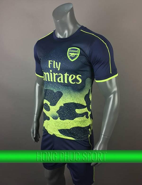 Bộ quần áo training Arsenal 2017 2018 đen phối xanh