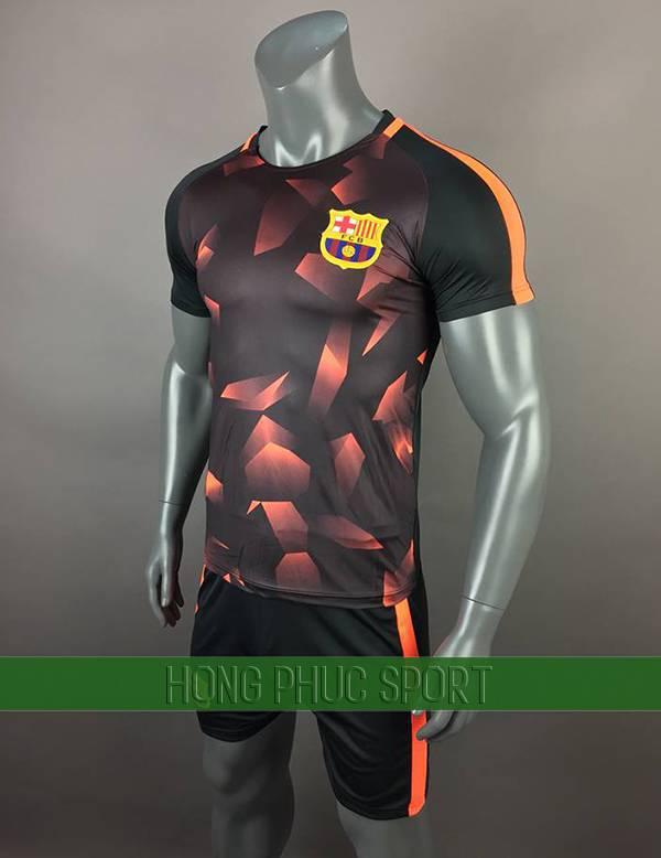 Bộ quần áo training Barcelona 2017 2018 đen phối cam