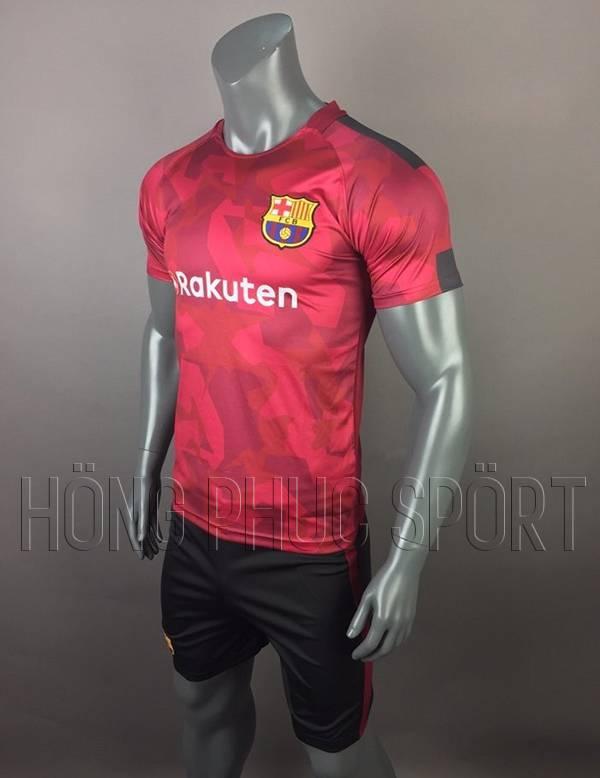 Bộ quần áo đấu Barcelona sân khách 2017 2018 mẫu thứ ba đỏ đô Rakuten