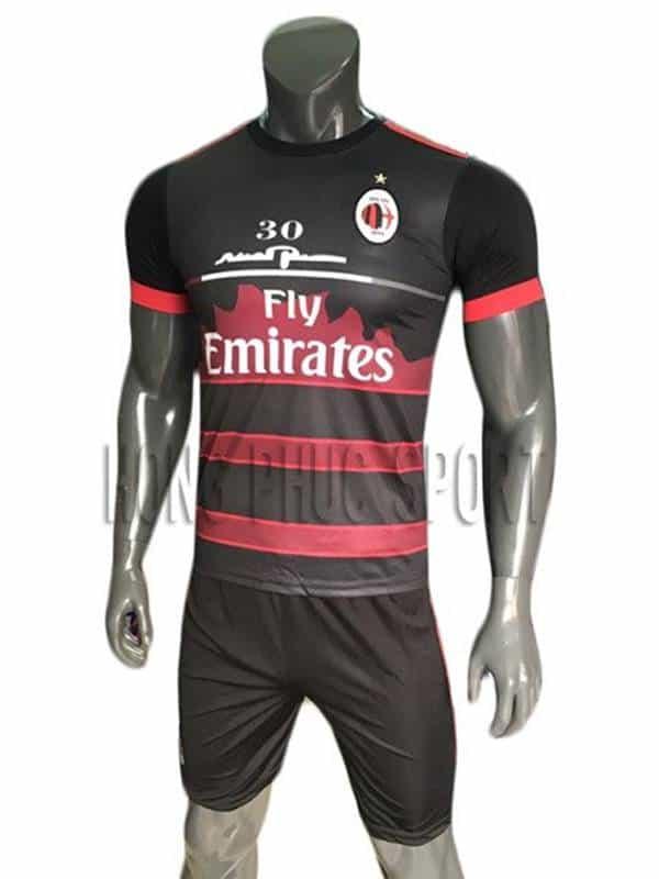 Bộ quần áo Training AC Milan 2017 2018 màu đen phối đỏ