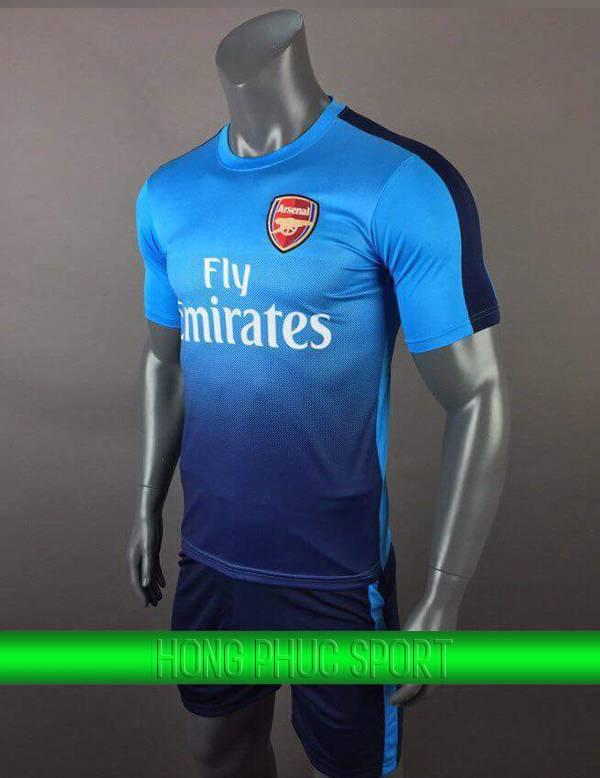 Bộ quần áo đấu Arsenal sân khách 2017 2018 xanh biển viền tím than