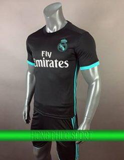 Áo đấu Real Madrid sân khách 2017 2018 đen viền xanh ngọc