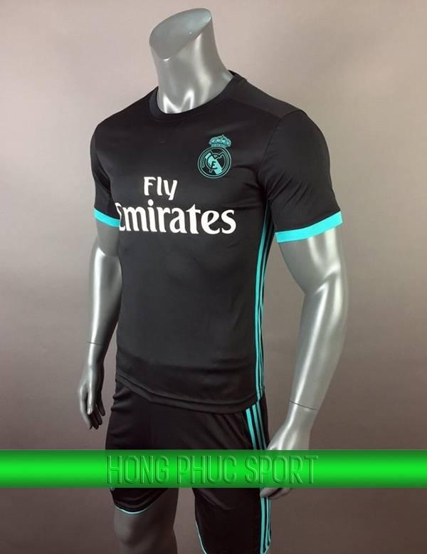 Bộ quần áo đấu Real Madrid sân khách 2017 2018 đen viền xanh ngọc