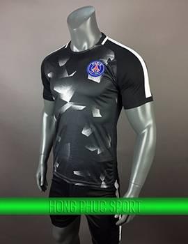 Đồ đá banh áo training PSG 2017 2018 đen phối trắng