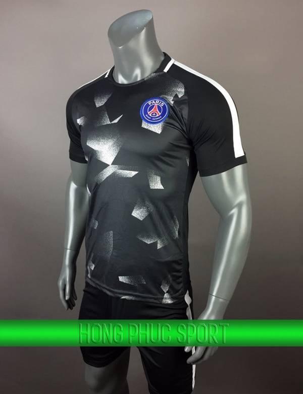 Bộ quần áo training PSG 2017 2018 đen phối trắng