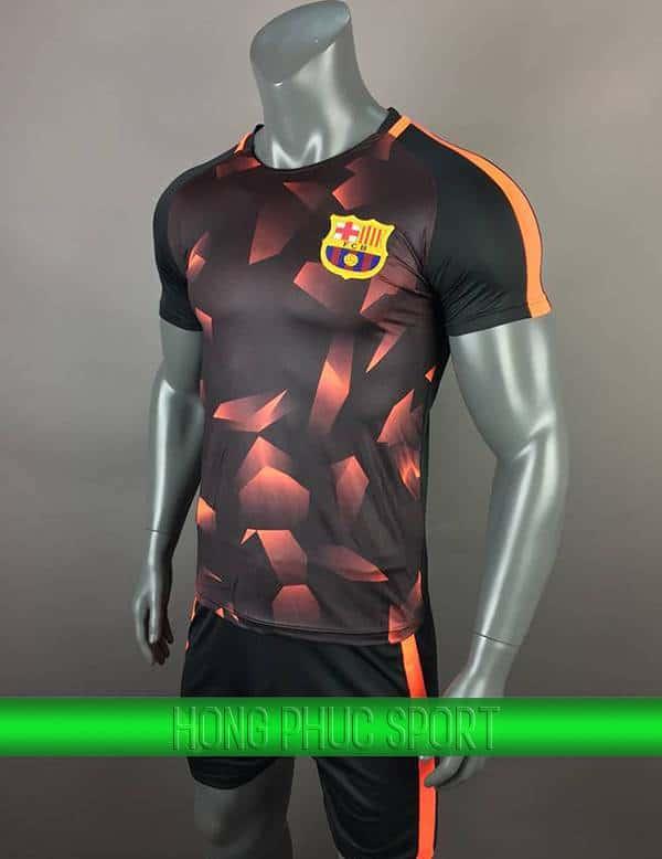 Bộ quần áo training Barca 2017 2018 đen phối cam