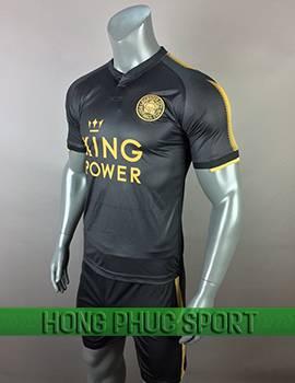Mẫu áo đấu Leicester City sân khách 2017 2018 đen phối vàng