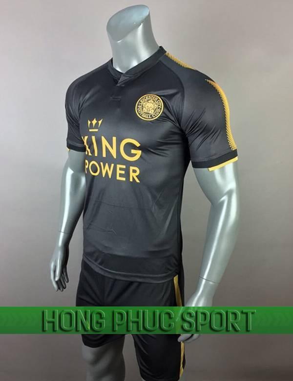 Bộ áo đấu Leicester City sân khách 2017 2018 đen phối vàng