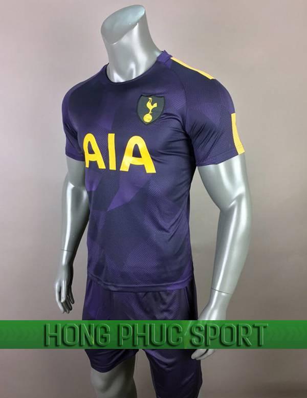 Bộ quần áo đấu Tottenham mẫu ba 2017 2018 tím than viền chuối