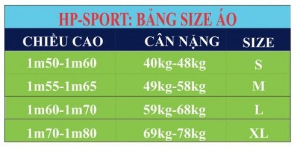 Bảng size quần áo bóng đá, quần áo cổ vũ U23 Việt Nam tại AFC Cup 2018