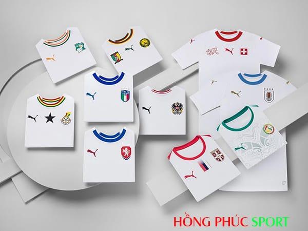 Mẫu thiết kế áo đấu của Puma cho một số đội tuyển.