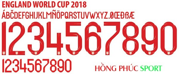 Font số áo Anh World Cup 2018