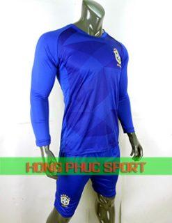 Áo tuyển Brazil sân khách tay dài World Cup 2018 màu xanh