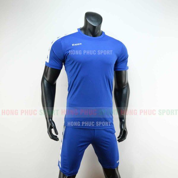 Áo đá bóng Kappa màu xanh không logo 2019 2020