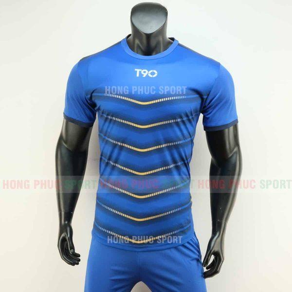 Áo đá bóng T90 màu xanh bích không logo 2019 2020