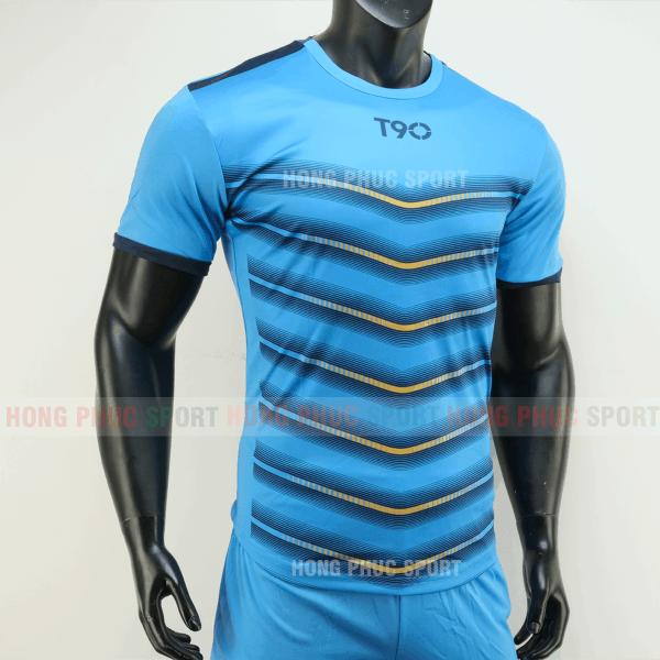 Áo đá bóng T90 màu xanh không logo 2019 2020