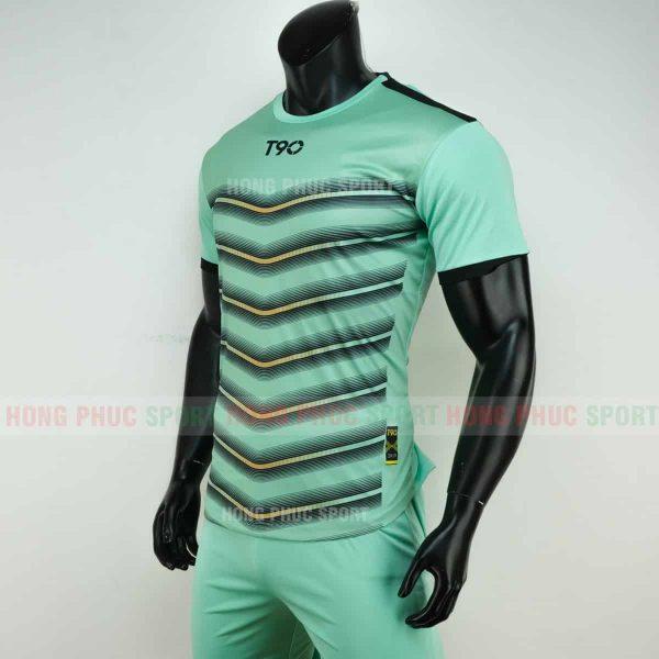 Áo đá bóng T90 màu xanh ngọc không logo 2019 2020