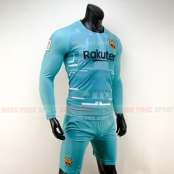 Áo bóng đá Barcelona dài tay 2019 2020 màu xanh