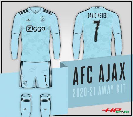 Áo bóng đá Ajax sân khách 2020 2021 màu xanh pha băng