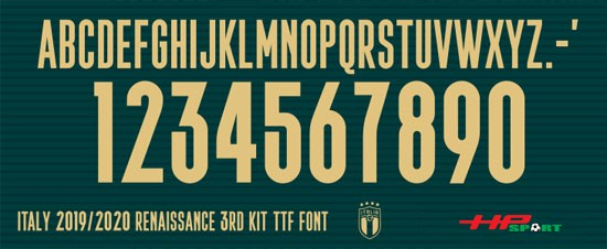 Font số áo Italia Euro 2020 (File .ttf)