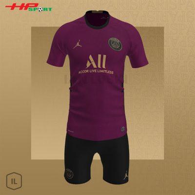 Lộ diện áo bóng đá Jordan PSG mẫu thứ ba 2020 2021 màu đỏ tím