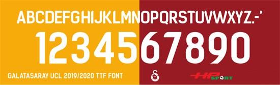 Bộ phông chữ số áo Galatasaray 2020 (File .ttf)