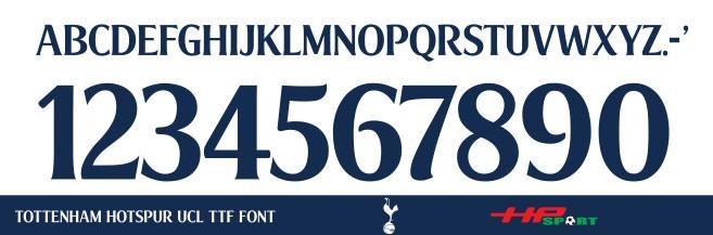 Font chữ áo bóng đá Tottenham Hotspur 2020 (File .ttf)