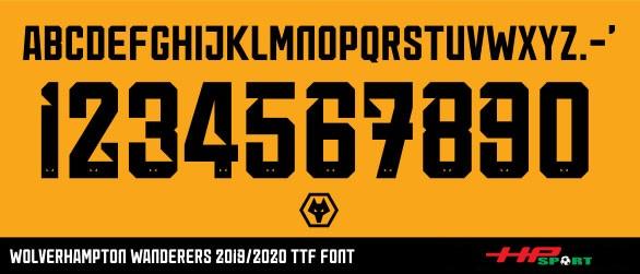 Font số áo Wolverhampton Wonderers 2020 (File .ttf)