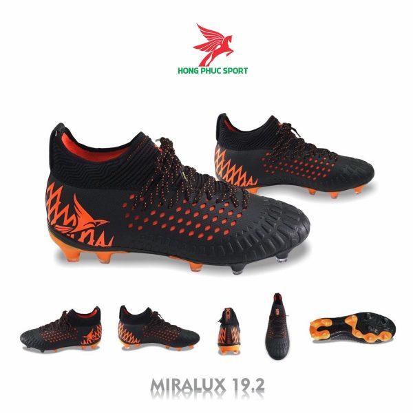 Giày đá bóng cổ cao Mira Lux 19.2 đen cam