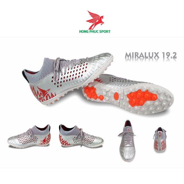 Giày đá bóng cổ cao Mira Lux 19.2 bạc sân cỏ nhân tạo