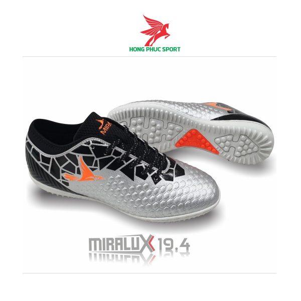 Giày đá bóng cổ cao Mira Lux 19.4 bạc sân cỏ nhân tạo