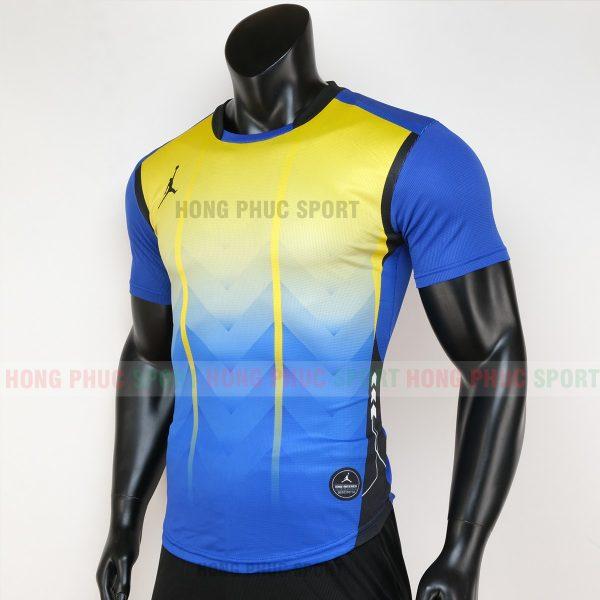 Áo bóng đá không logo jordan màu vàng xanh 4
