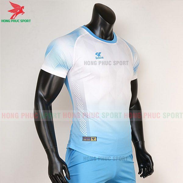 áo bóng đá không logo Mizuno trắng xanh biển 4