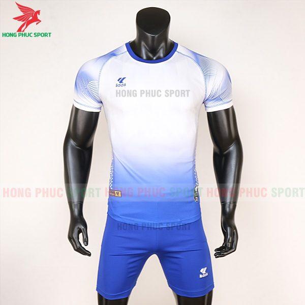 áo bóng đá không logo Mizuno trắng xanh dương 1