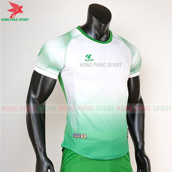 áo bóng đá không logo Mizuno trắng xanh lá 5