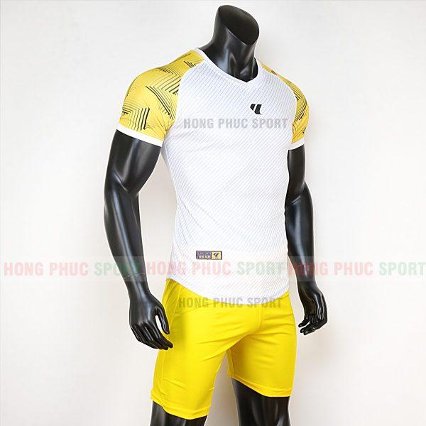 Áo bóng đá không logo Lidas wariors trắng vàng 5