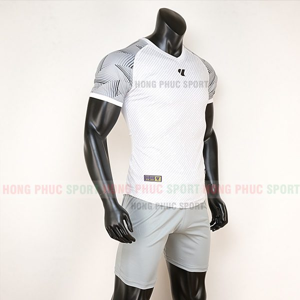Áo bóng đá không logo Lidas wariors trắng xám 4