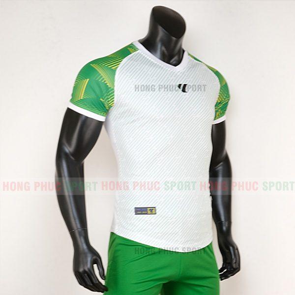Áo bóng đá không logo Lidas wariors trắng xanh lá 2