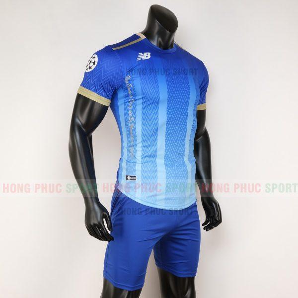 Áo bóng đá không logo newbalance xanh bích 2