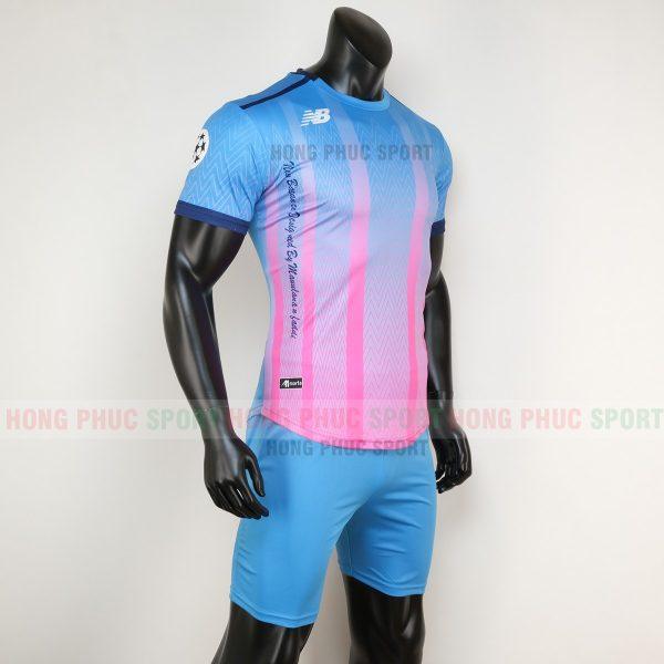Áo bóng đá không logo newbalance xanh hồng 2