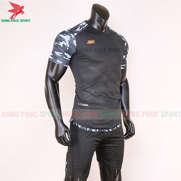 Áo bóng đá không logo Riki camor màu đen 4