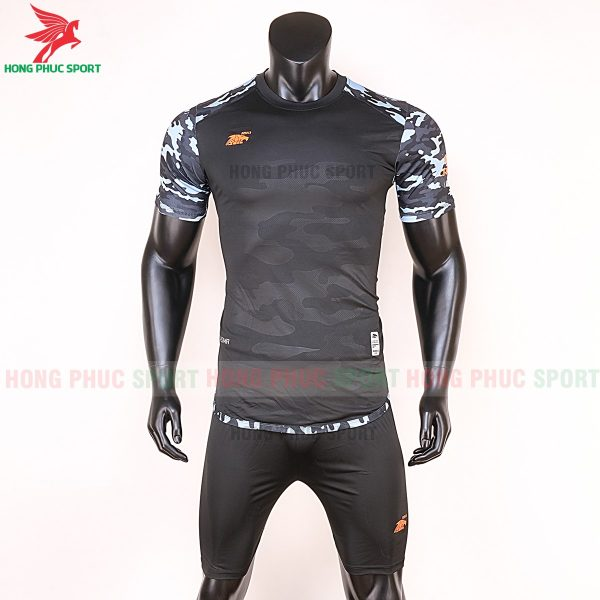 Áo bóng đá không logo Riki camor màu đen