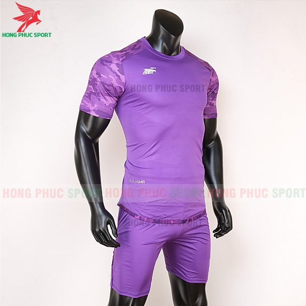Áo bóng đá không logo Riki camor tím đậm 5