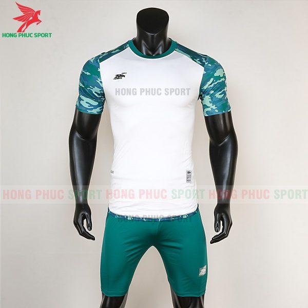 Áo bóng đá không logo Riki camor trắng rêu 1