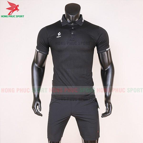áo di chuyển bóng đá polo UV Egan màu đen 1